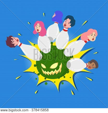 Coronavirus As A Bowling Clash On People All Over The World. Conceptual Vector For Virus Crisis And