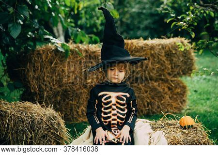 Halloween Skeleton Child. Has Happy. Adorable Baby Having Fun. Only Fun Is On My Mind. Kids Trick Or