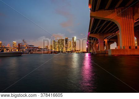 Miami. Beautiful Miami Florida Skyline At Sunset