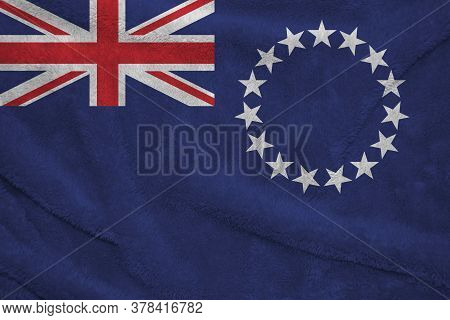 Towel Fabric Pattern Flag Of Cook Islands, Crease Of Cook Islands Flag Background. Blue Ensign With