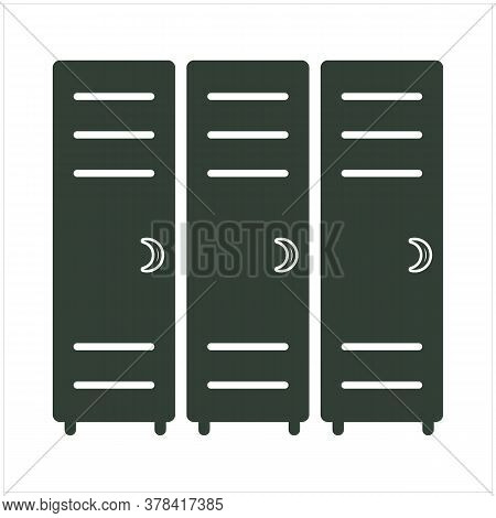 Lockers Solid Icon. Three Little Lock Doors Of Cloakroom Vector Illustration Isolated On White. Dres