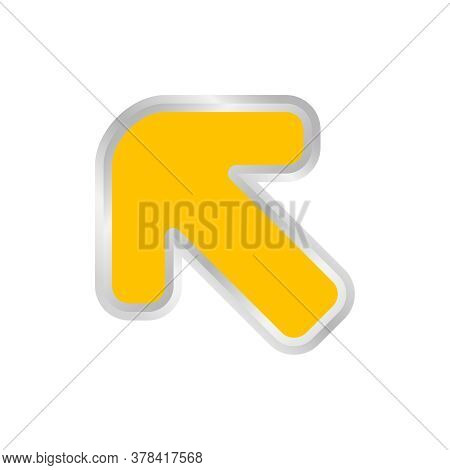 Yellow Arrow Pointing Left Up, Clip Art Yellow Arrow Icon Pointing For Left Up, Arrow Symbol Indicat