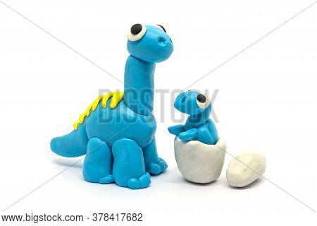 Play Dough Brachiosaurus And Egg On White Background