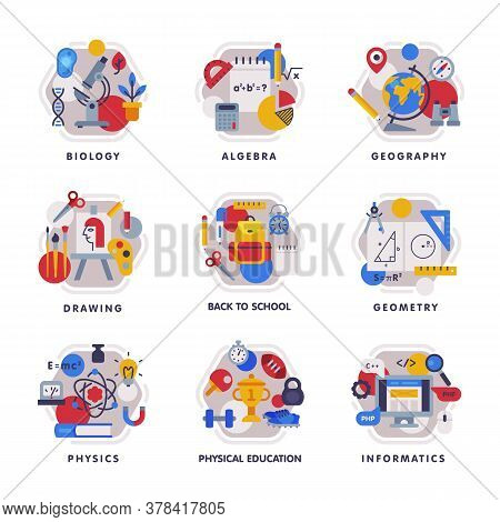Collection Of School Subjects Icons, Education And Science Disciplines With Related Elements, Back T