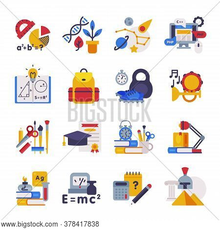 School Subjects Supplies Set, Education Symbols, Schooling And Learning Elements, Back To School Con