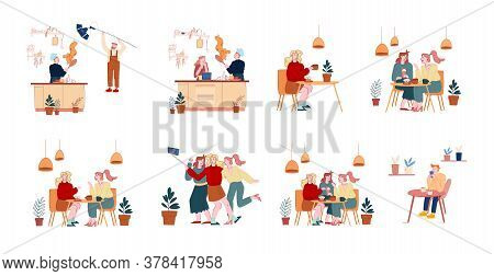 Set Of Male Or Female Characters Meeting In Cafe, Girl Friends Making Selfie On Smartphone. Food Blo