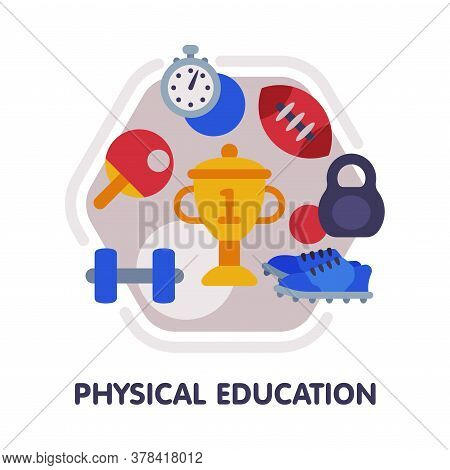 Physical Education School Subject Icon, Education And Science Discipline With Related Elements Flat