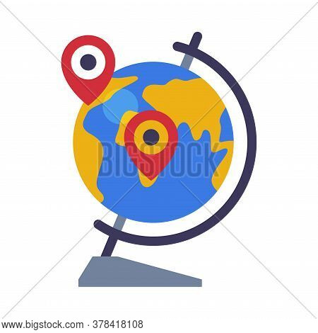 School Globe Destination Points, Geography Lesson Equipment Flat Style Vector Illustration On White