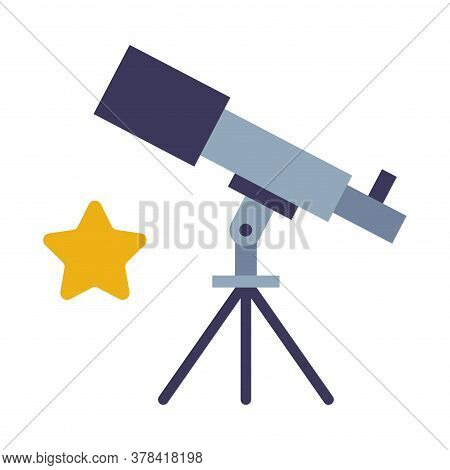 Telescope, Discovery And Explore Galaxy And Space Optical Device, Education And Astronomy Science Eq