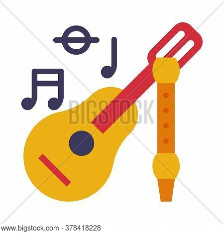 Acoustic Guitar And Flute, School Supplies, Educational And Back To School Elements Flat Style Vecto