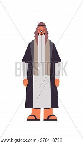 Arabic Man In Traditional Clothes Arab Businessman Standing Pose Male Cartoon Character Full Length