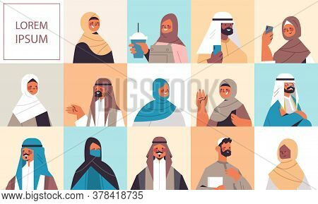Set Arabic Women Men In Traditional Clothes Smiling Arab People Avatars Collection Male Female Carto