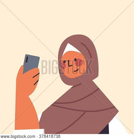 Arabic Woman In Traditional Clothes Using Smartphone Smiling Arab Girl Avatar Female Cartoon Charact