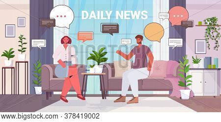 Couple Discussing Daily News During Meeting Chat Bubble Communication Concept Man Woman Spending Tim