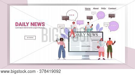 Mix Race People Reading Newspapers And Discussing Daily News Chat Bubble Communication Concept Full