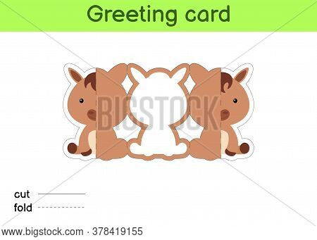 Cute Horse Fold-a-long Greeting Card Template. Great For Birthdays, Baby Showers, Themed Parties. Pr
