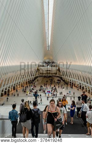 Manhattan, New York City, Usa - June 7, 2019: Oculus Inside Of World Trade Center Transportation Hub