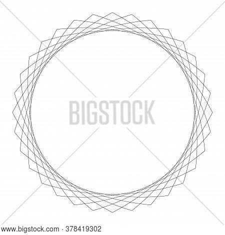 Wave Art Lines Pattern Abstract For Background, Optical Line Wave Twirl Black Circle, Dynamic Motion