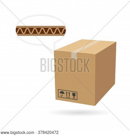 Cardboard Box Mockup. Isolated On White Background. Vector Carton Packaging Box Image.