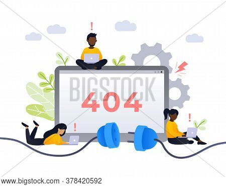 404 Error Page Design Concept. Empty Screen With Error, Connection Fail. Small African People Repair