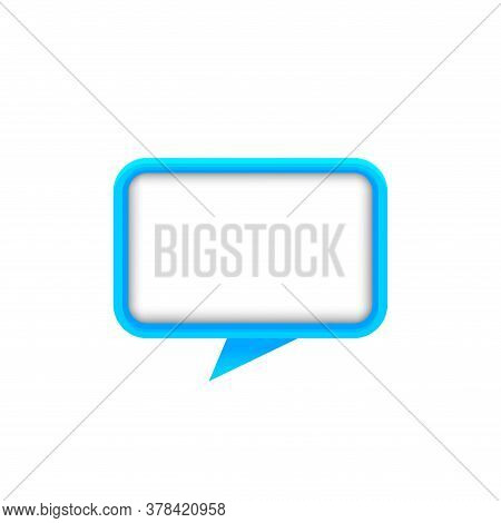 Speech Bubble Square Shape Blue Color For Message, Copy Space, Dialog Chat Box Modern, Speech Balloo