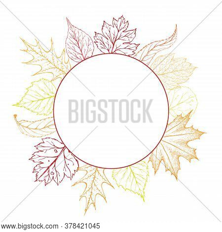 Vector Round Frame With Autumn Leaves. Fall Wreath. Autumnal Background, Banner, Poster, Flyer Label