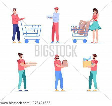 Couriers And Clients Cartoon People Characters Set. Man Woman Customer Pushing Shopping Trolley Cart