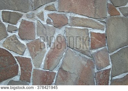 Background Brick Texture, Natural Stone Wall With Copy Space. Stone Block Masonry