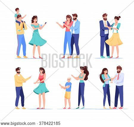 People Digital Device User Character. Loving Couple, Married Husband Wife, Parent Children Holding M