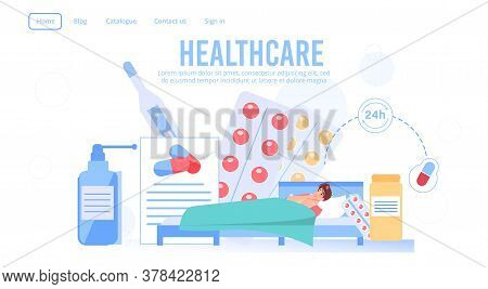 Round-the-clock Healthcare Service Landing Page. Medical Prescription Order, Purchase. Free Home Pil