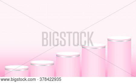 Pink Pedestal Cylinder Circle Five Steps For Cosmetics Showcase, Podium Circle Stage Pink Pastel Sof