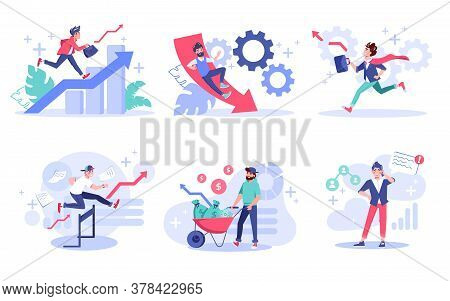 People Entrepreneur Creative Business Concept Set. Professional Career Growth, Overcoming Obstacles,