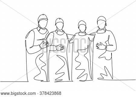 Single Continuous Single Line Drawing Group Of Surgeon Doctors Standing And Posing After Do Operatin