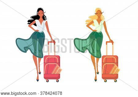 Caucasian And African American Women In Summer Clothes With Travel Bag. Isolated Concept Diverse Fem