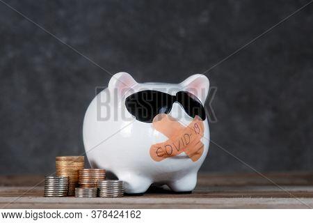 Pink Porcelain Piggy Bank Pig With Plaster On A Wooden Background