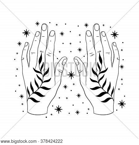 Hand Minimal Abstract Line Art.elegant Magic Sketch.hand Drawn Style.