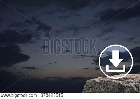 Download Flat Icon On Rock Mountain Over Sunset Sky, Technology Internet Online Concept
