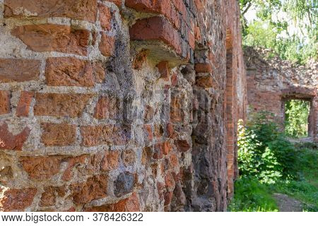 The Old Overgrown Brick Walls Of The Destroyed Building. Horizontal Orientation, Selective Focus.