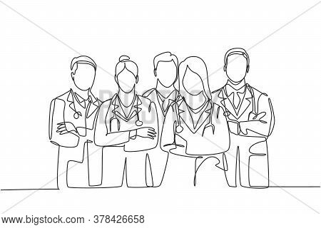 Single Continuous Single Line Drawing Of Young Male And Female Doctors Standing And Posing Together
