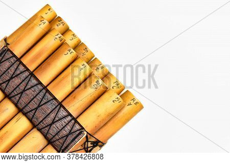 Pan Flute Andean Wind Instrument On White Background