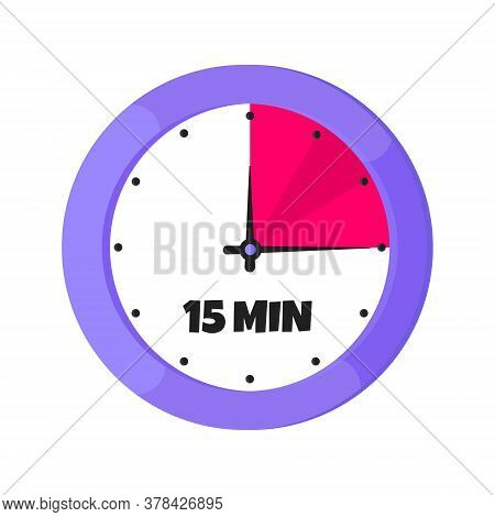 Fifteen Minutes On Analog Clock Face Flat Style Design Vector Illustration Icon Sign Isolated On Whi