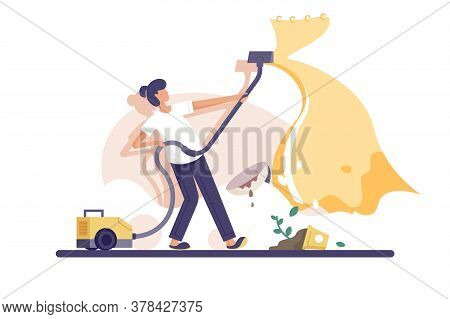 Mess At Home Vector Illustration. Woman Cleaning In Apartment Flat Style. Yellow Vacuum Cleaner. Bro