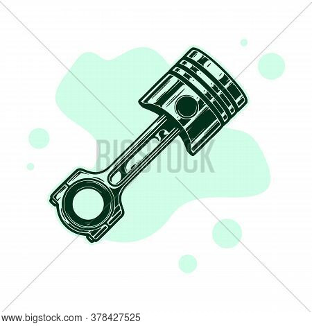 Black Line Engine Piston Icon Isolated On Green And White Background. Car Engine Piston Sign. Random