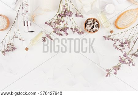 Elegant Beige Natural Cosmetic Products And Accessories With Lavender Twigs For Body And Skin Care O