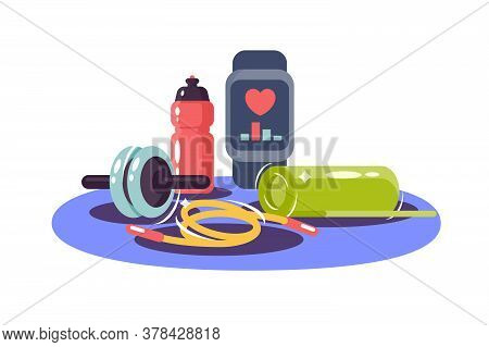 Sports Equipment Of Health Watch, Skipping Rope, Dumbbell And Bottle. Isolated Icon Concept Of Tool