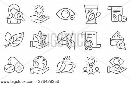 Set Of Healthcare Icons, Such As Moisturizing Cream, Collagen Skin. Diploma, Ideas, Save Planet. Org