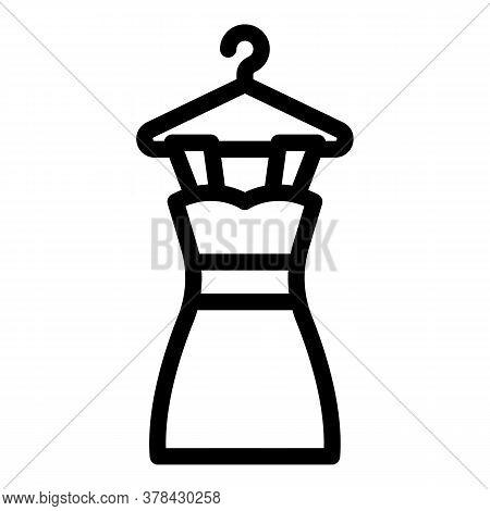 Dress On Hanger Icon. Outline Dress On Hanger Vector Icon For Web Design Isolated On White Backgroun