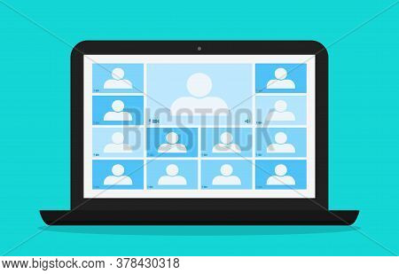Zoom teleconference. Online class in laptop. Team of college in chat. Remote group of student with teacher. Virtual study and distance in education. Home webinar from university or work. Vector.