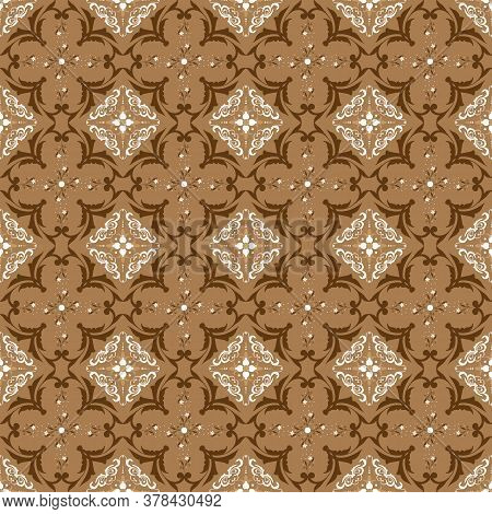 Modern Flower Pattern In Indonesian Batik Style With The Mocca Background Design.