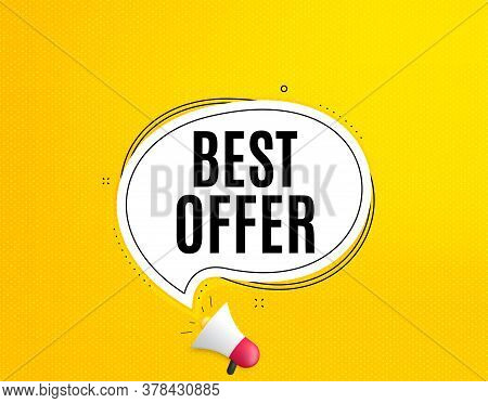 Best Offer. Megaphone Banner With Chat Bubble. Special Price Sale Sign. Advertising Discounts Symbol